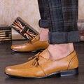 2016 Nuevos Hombres de Los Holgazanes Oxford Zapatos Planos de la marca de fábrica Superior de Los Hombres Mocasines Zapatos de La Boda de La Borla de Cuero Zapatos de Los Hombres Casuales zapatos hombre
