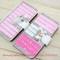 Case para Samsung Galaxy ACE3 ACE 3 III S7270 7270 S7272 S7275 7272 S7278 cuero, 3d Bling Rhinestone cristal de diamante carpeta de la pu