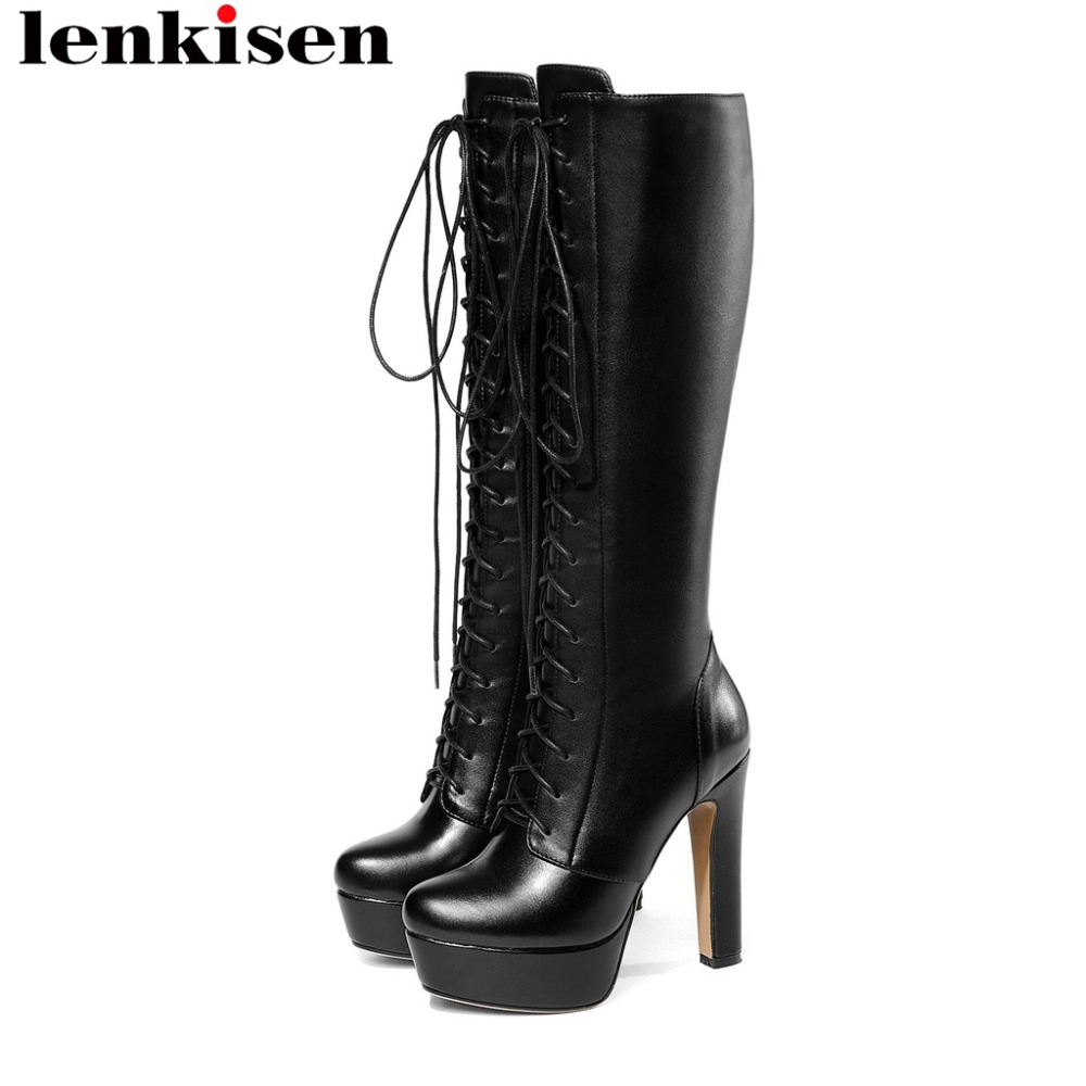 Lenkisen large size round toe super high heels zipper waterproof cow leather cross tied beauty women
