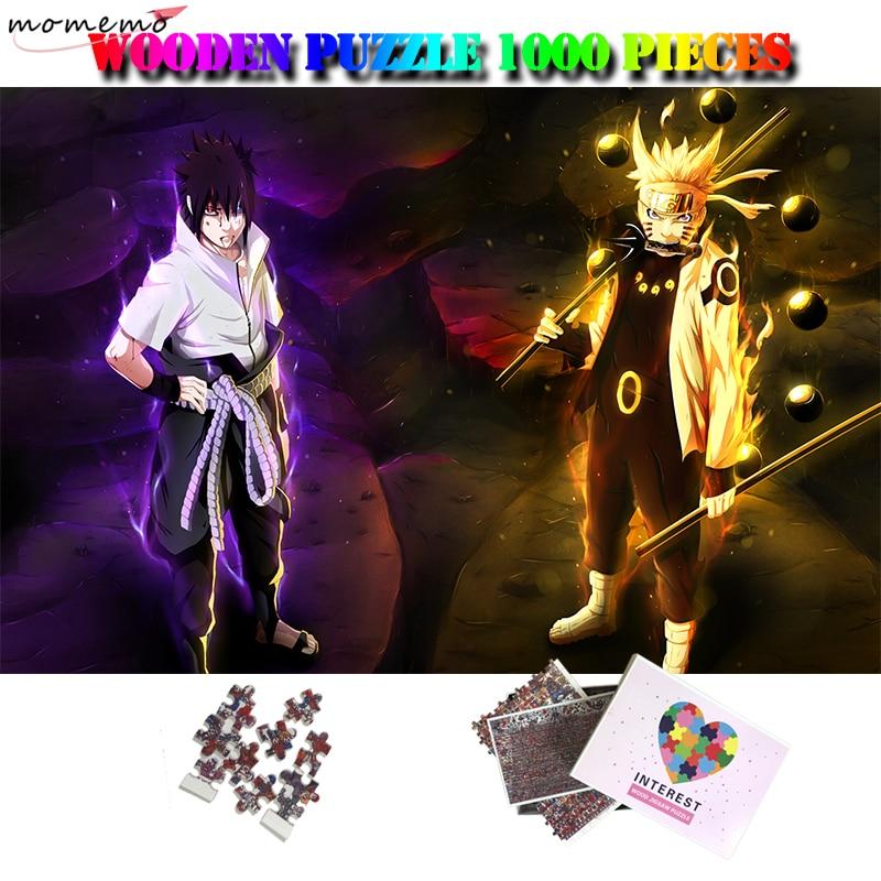 MOMEMO Anime Cartoon 1000 Pieces Puzzle Uzumaki Naruto Uchiha Sasuke Jigsaw Puzzle Customized Adults Quality Wooden Puzzle Toys