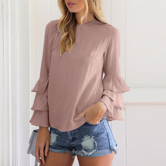 Avodovama M Women Summer 2017 NEW Stylish Blouses Long Sleeve Solid Colors Round Neck Bodycon Regular Butterfly Sleeve Shirts