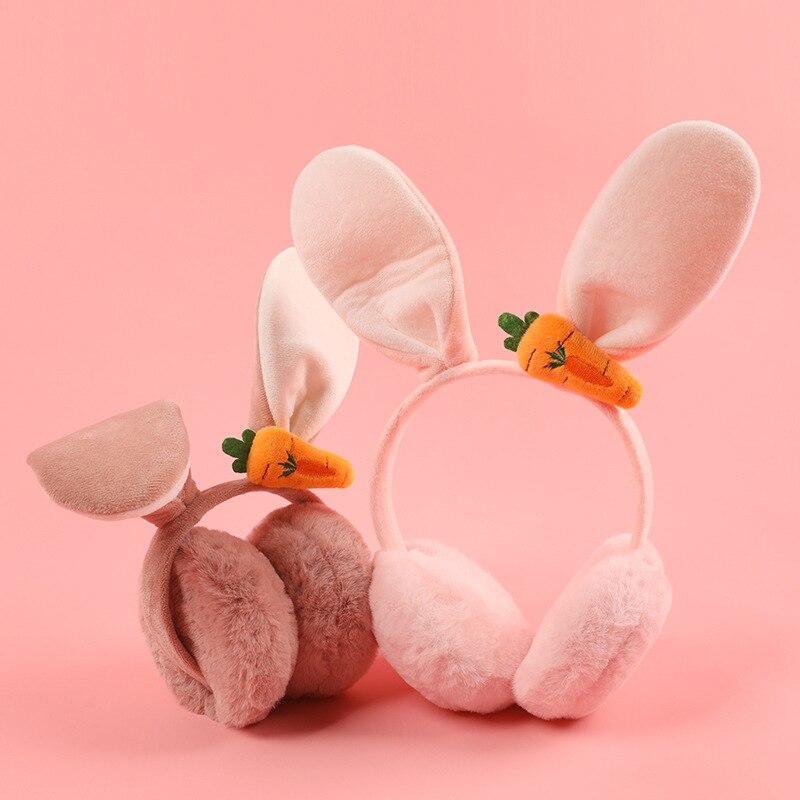 Korean Style  Warm Earmuffs Lady Lovely Rabbit Folding Version Velvet Windshield Fur Earmuffs