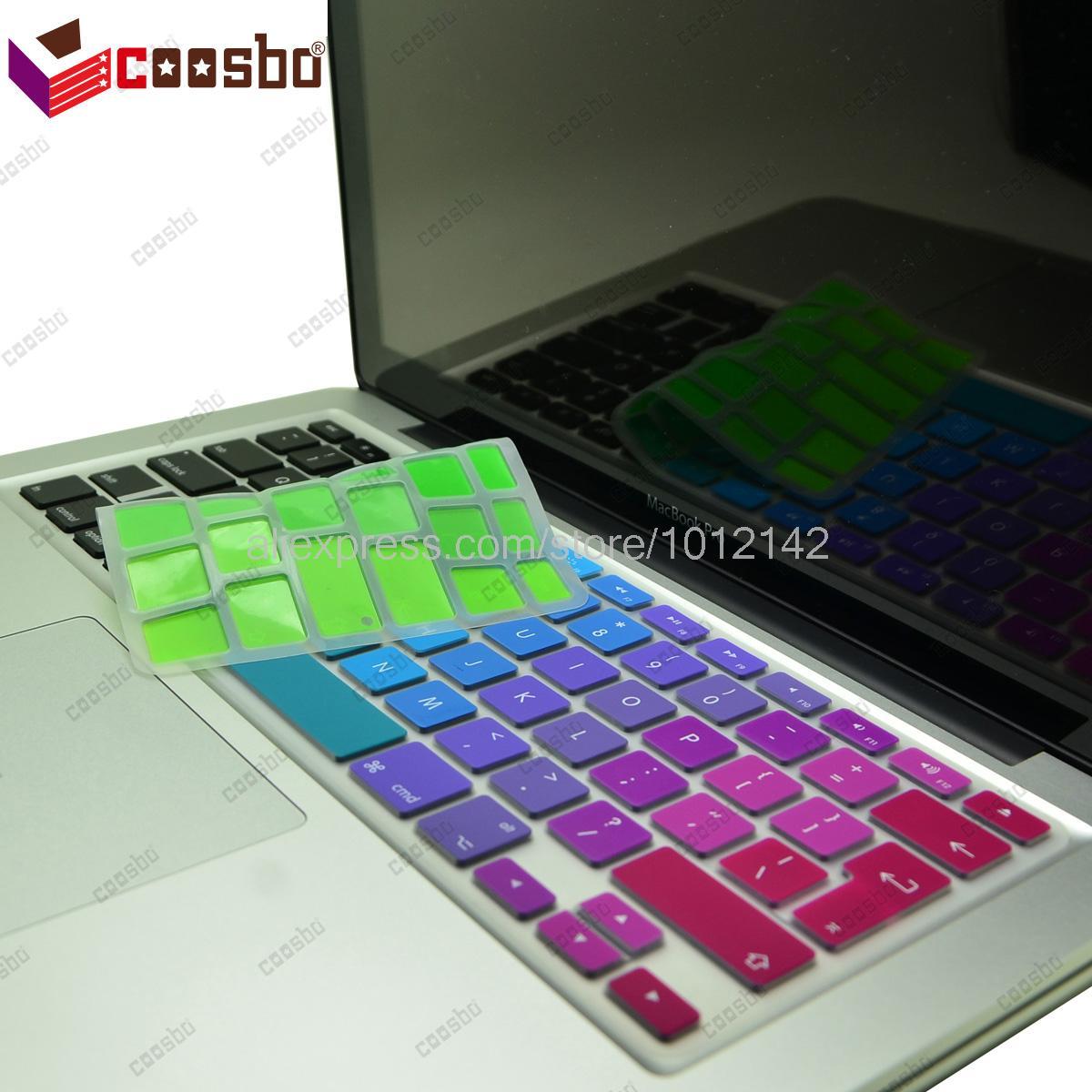 50 pcs prix de gros colorful EU / UK keyboard Cover Skin pour Apple Mac MacBook air pro retina 11 13 15 17 Protecter Film cadeau