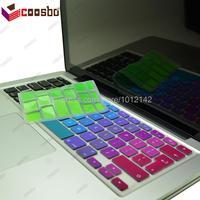 50 stks groothandelsprijs kleurrijke eu/uk keyboard cover skin voor apple mac macbook air pro retina 11 13 15 17 protecter film gift