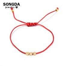 908fad515f06 SONGDA Mini flor encantadora rojo hilo cuerda pulseras para las mujeres  niños niñas Real 24 K oro Braid Lucky pulsera del encant.