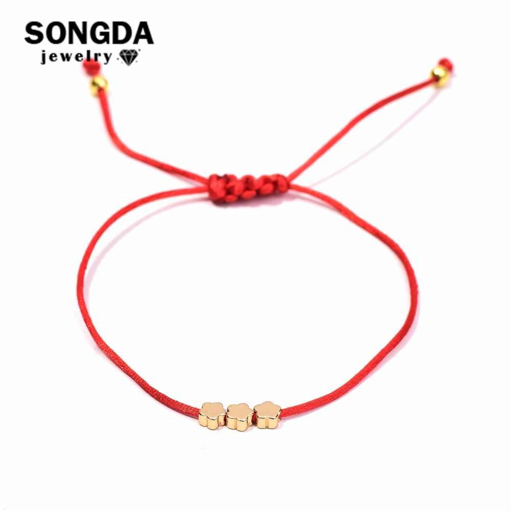 SONGDA Lovely Mini Flower Red Thread String Bracelets for Women Kids Girls Boys Real 24K Gold Beads Braid Lucky Charm Bracelet