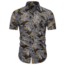цена на Beach Short Sleeve Shirt Men Fashion Print Tropical Casual Shirt Men's Party Holiday Slip Dress Men's Print Short Sleeve Shirt