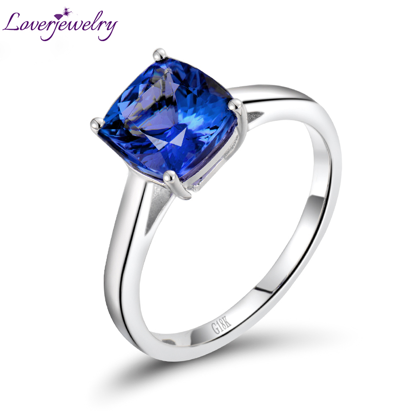 Solid 18Kt White Gold Ring Natural Blue Tanzanite Engagement Ring Design Cushion Cut Gem Jewelry Simple Design for Anniversary-in Rings from Jewelry & Accessories    1