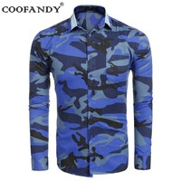 COOFANDY Male Shirts Masculina Clothes Men Contrast Color Collar Long Sleeve Camouflage Casual Shirts US Size