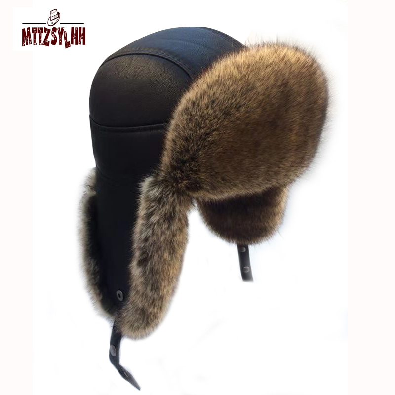MTTZSYLHH Men's Fox Hair Pilot Cap Russian Winter Hat Warm High-end Ear Bombard Cap Free Shipping(China)