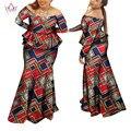 2017 BRW Новые Африканские Платья для Женщин Личное Обычай Традиционных Африканских Одежды Сексуальные Африканских Юбка Набор Плюс Размер WY964