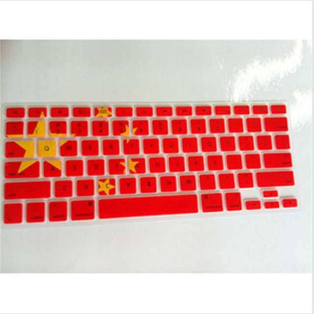 China chinese flag five stars pattern silicone keyboard cover skin protector film sticker for macbook pro
