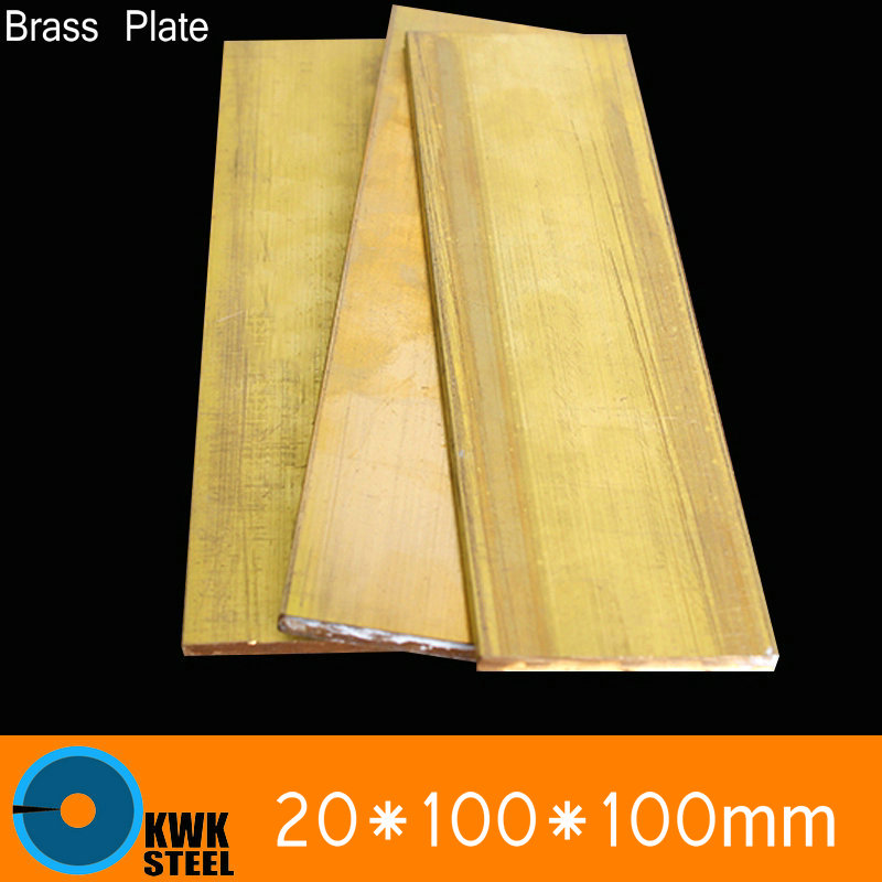 20 * 100 * 100mm Brass Sheet Plate Of CuZn40 2.036 CW509N C28000 C3712 H62 Mould Material Laser Cutting NC Free Shipping