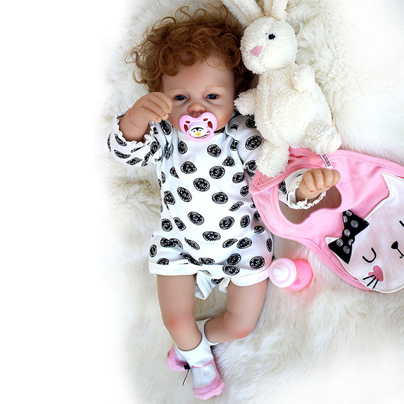53CM Reborn Baby Doll Handmade Realistic Silicone Vinyl Material Alive Baby Doll With Rabbit Doll Magnetic Pacifier ...