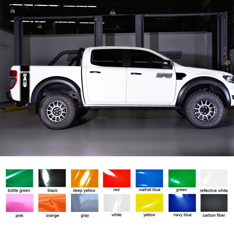 free shipping 2PC including right and left F bomb car stickers for Ford Ranger 2012 2013 2014 2015 2016 2017 Vertical Bed bo