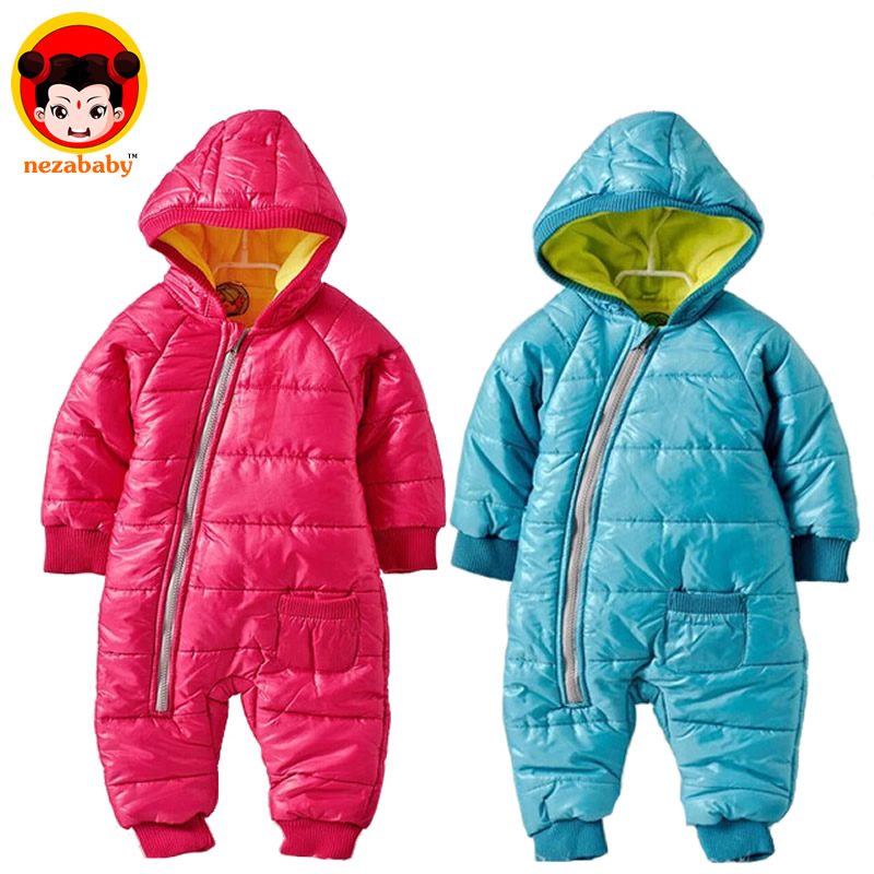Promotion 2015 Hot fashion baby romper for winter cotton padded coat one piece romper outwear children clothing set DZ09