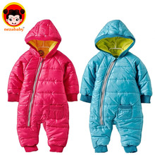 Promotion 2015 Hot fashion baby romper for winter cotton padded coat one piece romper outwear children