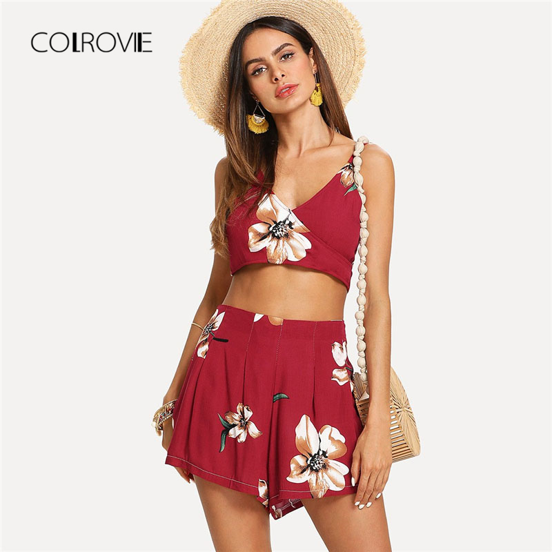 COLROVIE Knot Back Surplice Crop Cami Top With Shorts 2018 New Summer Sleeveless Floral Women Sets Red Vacation Two Piece Set