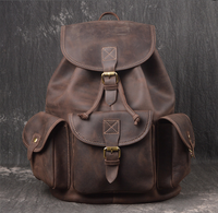 Vintage Men Drawstring Hasp Genuine Leather Bags Unisex Preppy Style Casual Travel Bags Youth Cowhide School Bags Totes D620