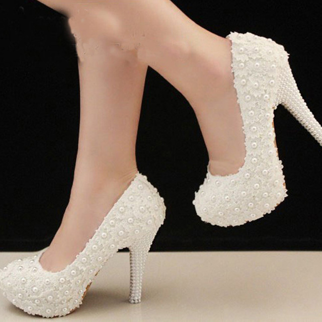 Elegant 4Inches High Heels Bridal Shoe White Lace Beading Wedding ...