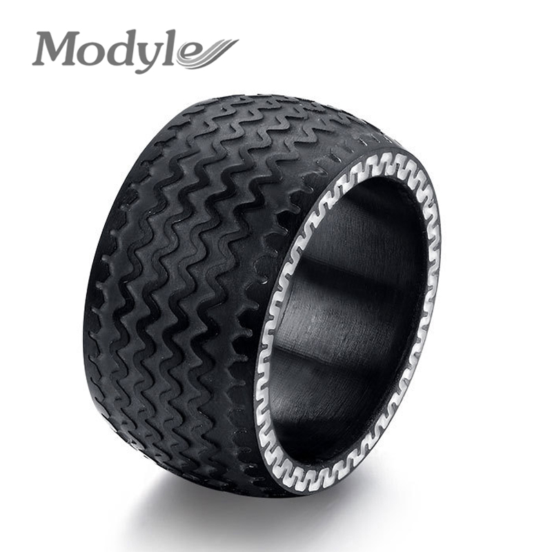 modyle cool men rings stainless steel rings for men jewelry high quality tire design black color wedding rings free shipping in rings from jewelry - Cool Wedding Rings For Guys