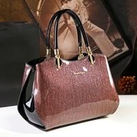 New arrival korean style simple pillow shoulder bags handbags women famous brands top handle bag patent leather messenger clutch