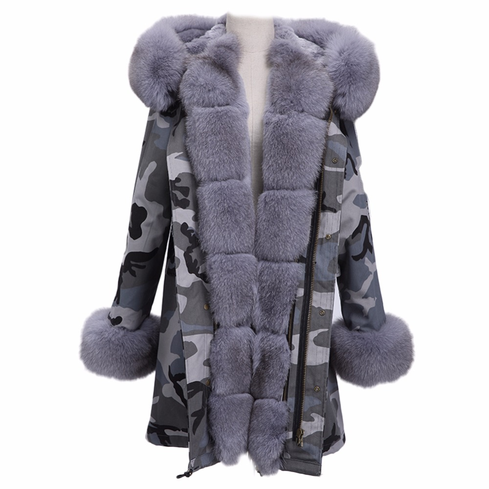 AiyangSilan 2017 Fur Liner Jacket Real Fox Collar Parka Women Natural Rex Rabbit Coat Adjustable Hood Long Woolen