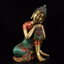Height 24CM!!!Collection original Tibetan turquoise Copper Sakyamuni Buddha statue/ Inlaid gemstones sleeping Buddha sculpture collecting old chinese handmade pure copper inlaid semi precious stones turquoise sleeping buddha sculpture sakyamuni statue
