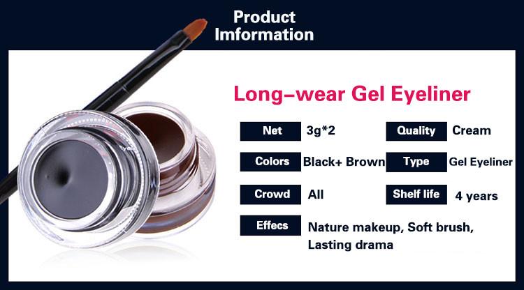 Music Flower 2 in 1 Coffee + Black Gel Eyeliner Make Up Waterproof Eye Liner Cosmetics Set Eyeliner Pens Makeup Brushes Set (3)