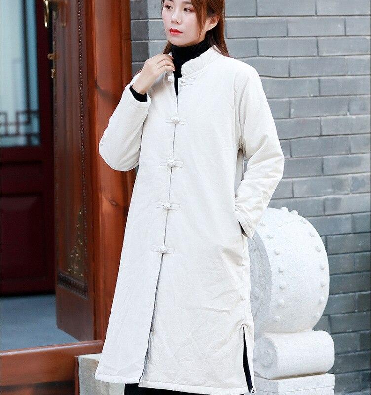 Outwear Coton Bouton Linge Collier Long Vintage Chinois De D'hiver Veste Stand Style rembourré Linen Épaissir Manteau Femmes 2018 Plat Pardessus gris x6OwTqA6