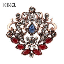 Kinel Vintage Hollow Bunga Bros Antik Emas Bertatahkan Kristal Biru Resin Pesta Pakaian Fashion Aksesoris Perhiasan(China)