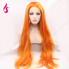 Best Quality Orange Cosplay Heat Resistent Synthetic Hair Lace Front  Wig – Free Shipping!