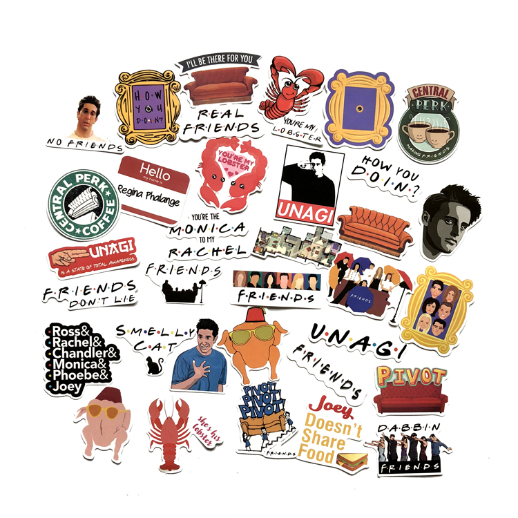 34pcs/set American TV Friends Stickers For Laptop Skateboard Home Decoration Car Styling Vinyl Decals Doodle Cool DIY Works