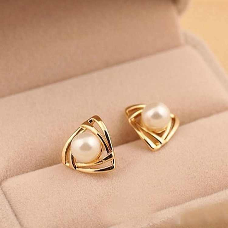 Gold Color Triangle pearl stud earrings for women jewelry