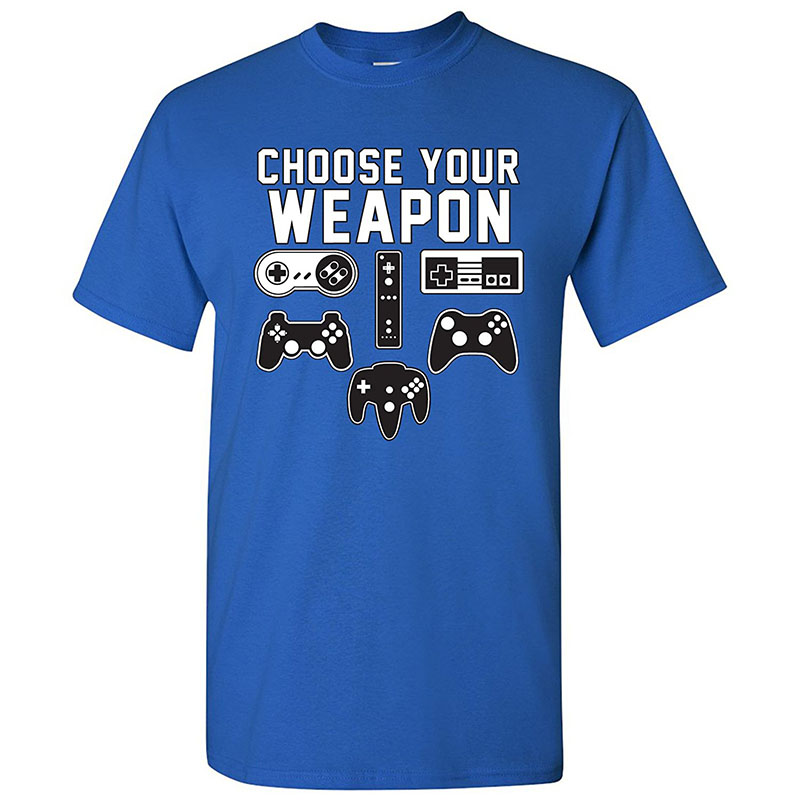 Mens High Quality Custom Printed Tops Hipster Tees Your Weapon Gamer Gaming Console Adult T-Shirt Basic Cotton Short Sleeve Top