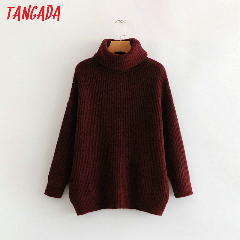 Tangada women jumpers turtleneck sweaters oversize winter fashion 19 long sweater coat batwing sleeve christmas sweate HY135 21