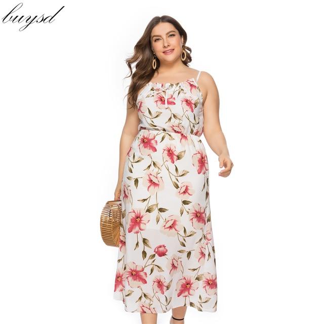 BUYSD 2019 נשים boho שמלת פוליאסטר אונליין פרחוני ללא שרוולים ספגטי רצועת סלאש צוואר קיץ נשים boho שמלות