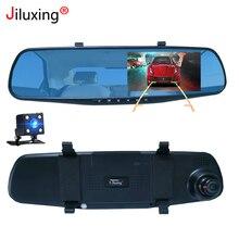 Jiluxing 1080P Car camera mirror two cameras car DVR Rearview Mirror Digital Video Recorder Auto Camcorder Dash Cam Night Vision