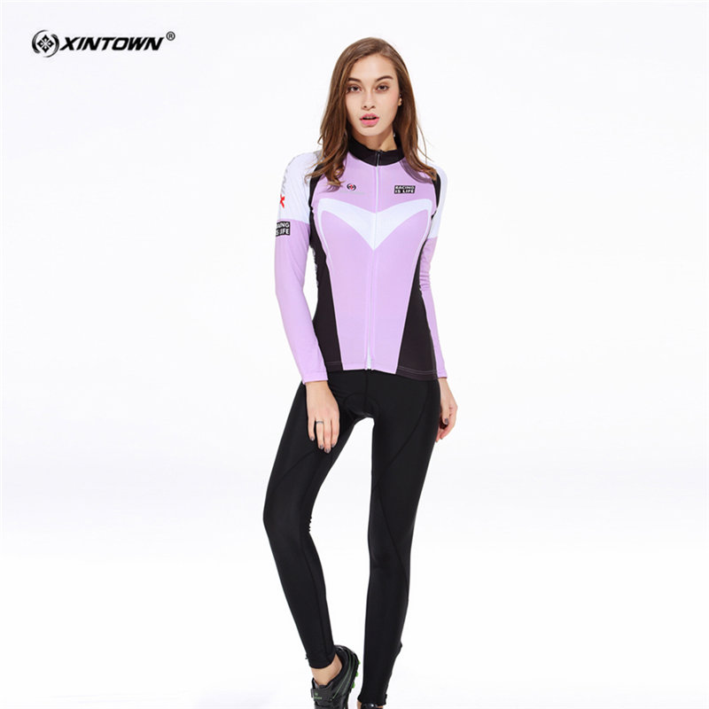 XINTOWN Long Sleeve Cycling Jersey Set MTB Bike Clothing Breathable W Bicycle Jerseys Clothes Maillot Ropa Ciclismo