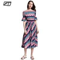 Fitaylor Summer Women Floral Dress Slash Neck Short Sleeve Floral Print Dresses Slim High Waist Boho
