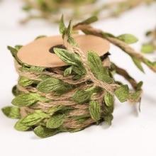 Silk Leaf Garland Hemp Rope Ribbons Artificial Flower Packing Green Wall Hanging Decorat Home DIY Cr
