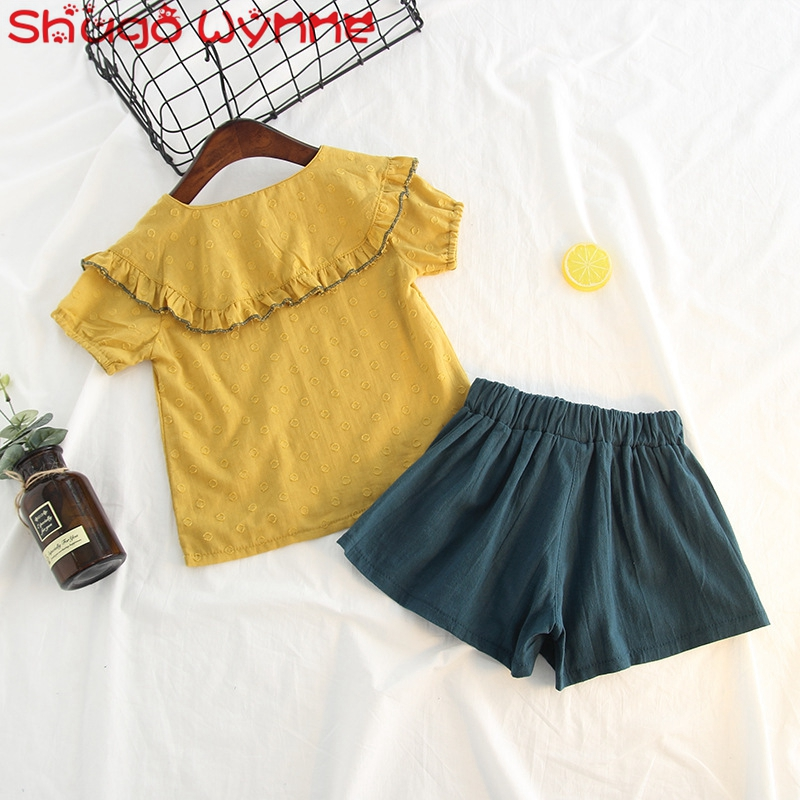 018d763bf Summer Children s Clothing Sets Short Sleeve Peter pan Collar Blouse ...