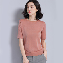 Women short sleeve knitting woman top for spring&summer RAYON materials women blause
