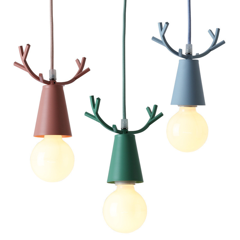 Nordic Cartoon Deer LED Pendant Lights Colorful Rope Pendant Light Hang Lamp Home Fixtures for Living Room Decoration luminaria colorful waterdrop cartoon ombre led night light