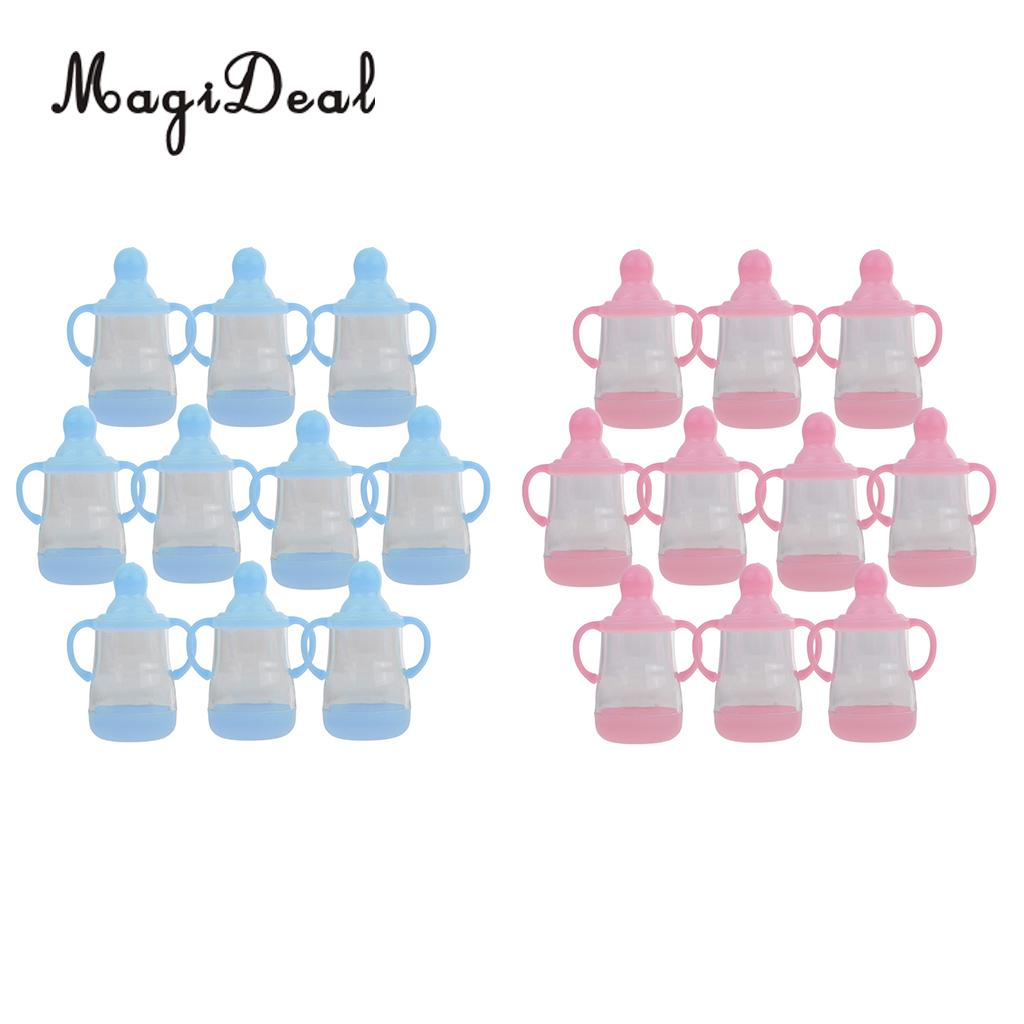 MagiDeal Creative 10Pcs Feeding Bottle Candy Boxes With Handle Baby Shower Party Favors for Birthday Party Christening Decor