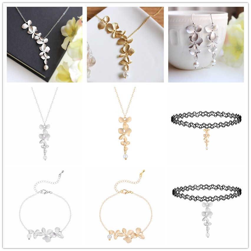 Cxwind śliczne orchidea kwiat wisiorek Lotus naszyjnik kwiatowy urok biżuteria naszyjnik łańcuch dla kobiet sukienka na imprezę akcesoria prezent