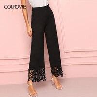 COLROVIE Black Cut Out Elastic Waist Wide Leg Elegant Pants Women Bottoms 2019 Summer High Waist Ladies Long Loose Trousers