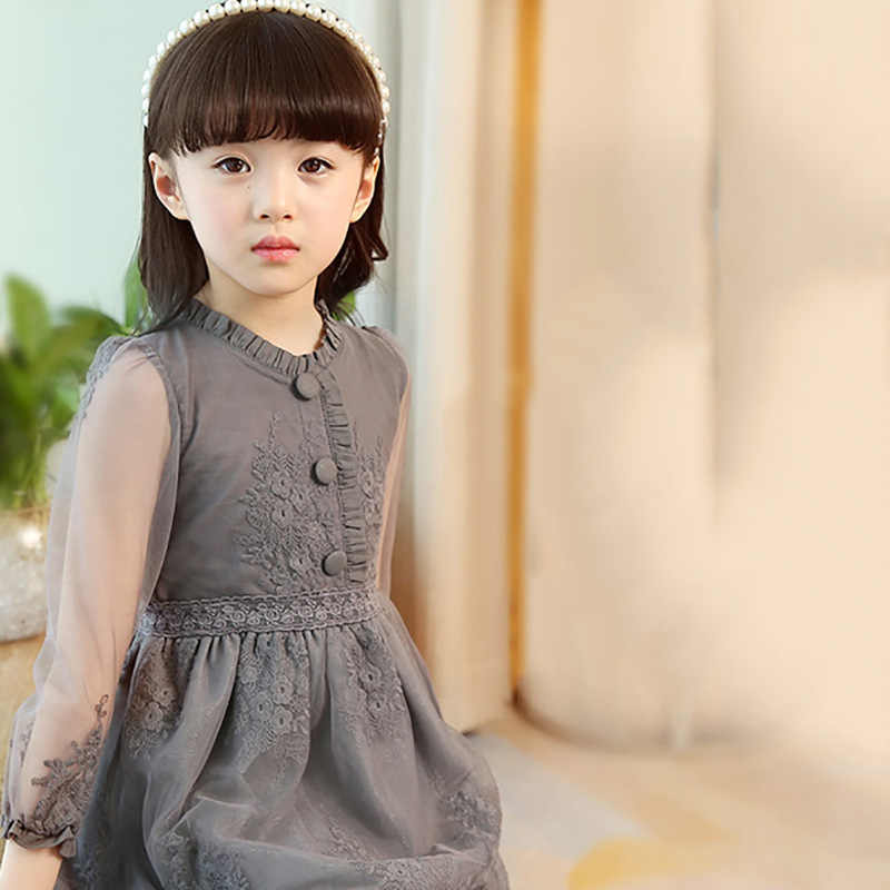 Girls Dress 2018 Spring Girl Thin Lace Princess Dress Kids Cotton Mesh Dresses For Party Wedding Dress 2-14Y Children Clothes