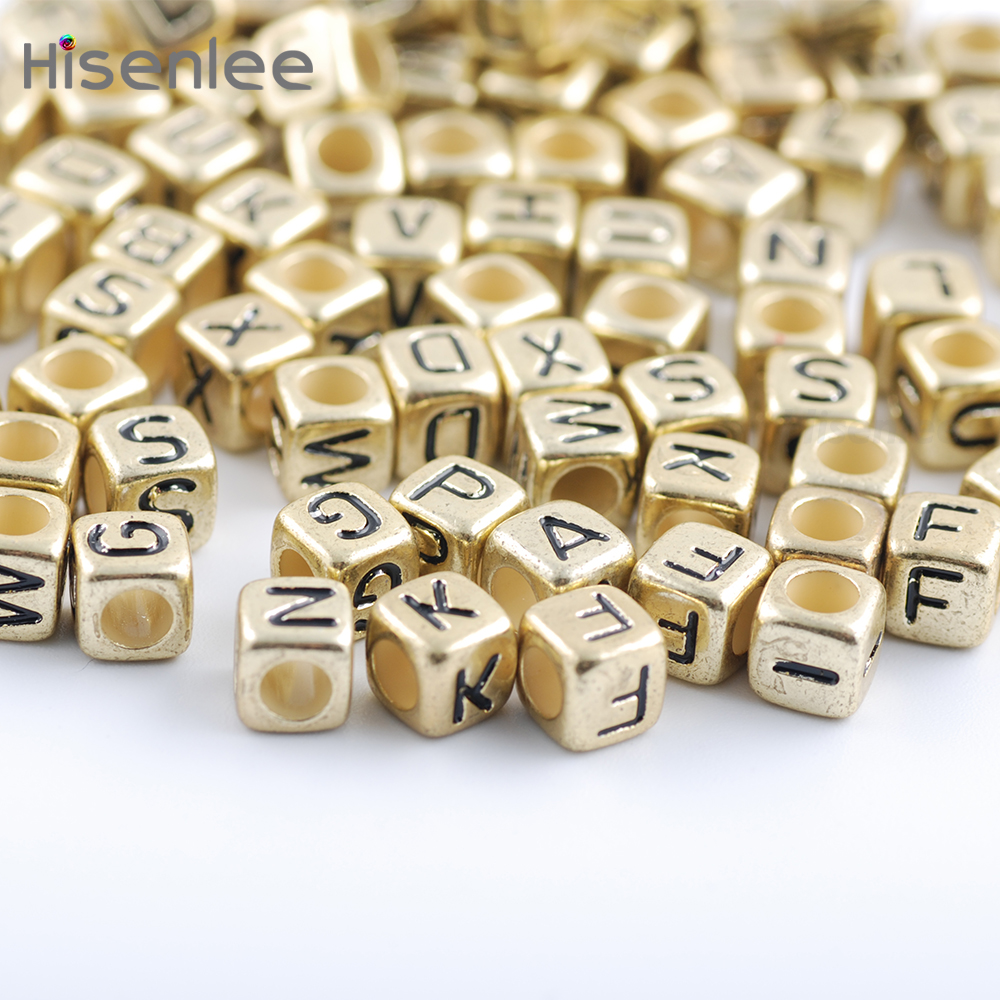 Hisenlee High Quality 200pc 6x6mm 3.5MM Hole Mixed Alphabet Ancient - Fashion Jewelry - Photo 6