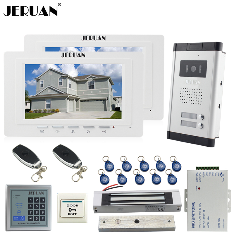 JERUAN Apartment 7 inch Video Door Phone Intercom System kit 2 White Monitor 1 HD Camera RFID Access Control for 2 Household